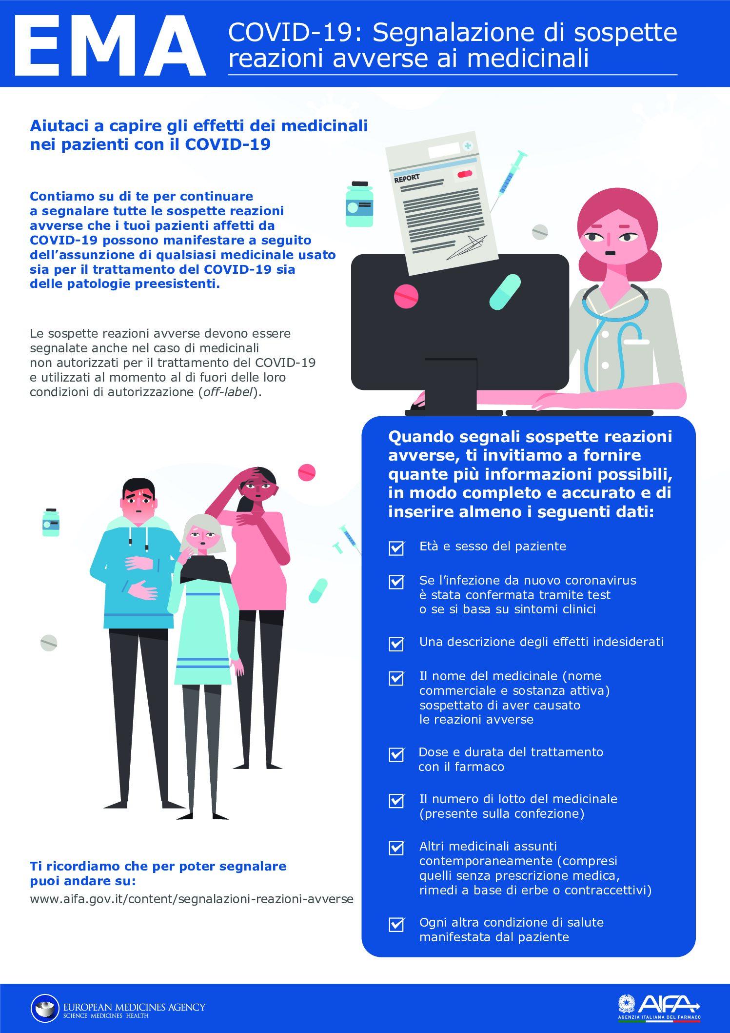 Campagna segnalazione spontanea ai medicinali nei pazienti con COVID-19.
